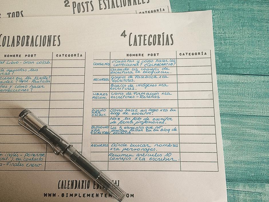 calendario editorial de escritor